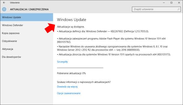 Wywołanie wybranej strony zzakładki Ustawienia wsystemie Windows 10.