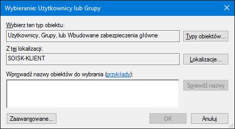 Przydzielanie uprawnień doudziału wsystemie Windows 10.