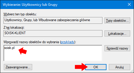 Przydzielanie uprawnień doudziału dla konta soisk.pl wsystemie Windows 10.