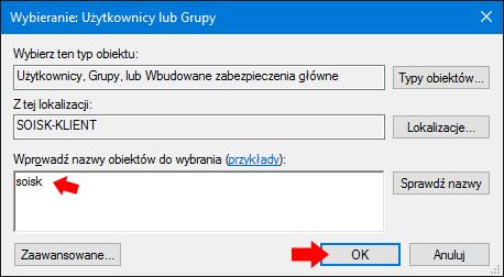 Przydzielanie uprawnień doudziału dla konta soisk wsystemie Windows 10.