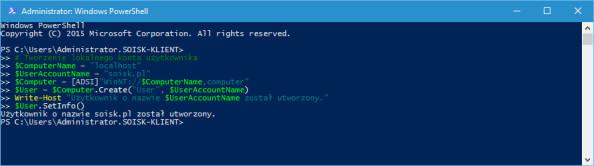 Tworzenie użytkownika wsystemie Windows 10 poleceniem PowerShell.