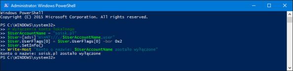 Wyłączanie dowolnego konta użytkownika wsystemie Windows 10.