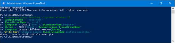 Usunięcie istniejącej grupy lokalnej znajdującego się wsystemie Windows 10.