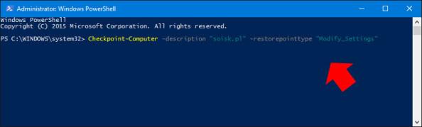 Tworzenie nowego punktu przywracania systemu poleceniem PowerShell.