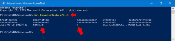 Podgląd utworzonego punktu przywracania wsystemie Windows 10.