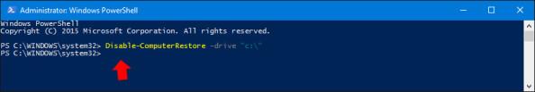 Wyłączenie poleceniem PowerShell ochrony nadysku systemowym.