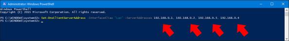 Przypisanie adresu ip serwera DNS dokarty sieciowej poleceniem PowerShell.