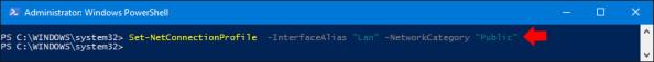 Zmiana lokalizacji sieciowej zPrywatnej naPubliczną wsystemie Windows 10.
