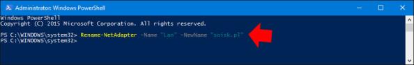 Zmiana nazwy interfejsu sieciowego wsystemie Windows 10.