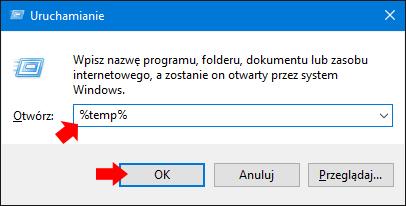 Wywołanie folderu TEMP zapomocą okna Uruchamianie.