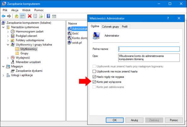 Widok wyłączonego konta administratora wsystemie Windows 10.