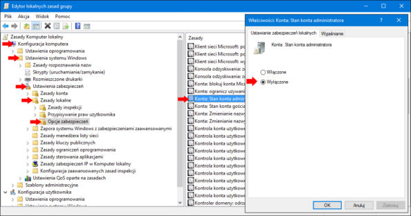 Aktywowanie konta Administratora wsystemie Windows 10 zapomocą edytora GPO.