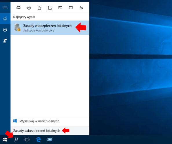 Wywołanie przystawki Zasady zabezpieczeń lokalnych wsystemie Windows 10.
