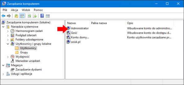 Widok włączonego konta administratora wsystemie Windows 10.