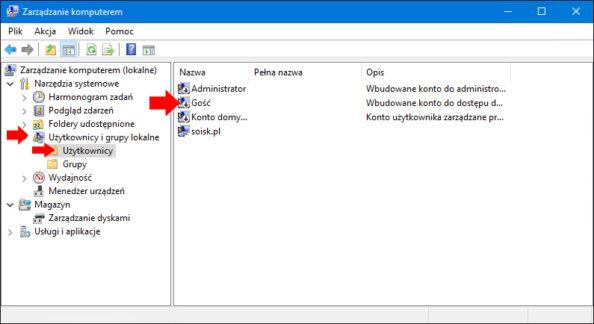 Widok wyłączonego konta gościa wsystemie Windows 10.
