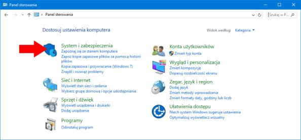 Widok zakładki System izabezpieczenia wsystemie Windows 10.