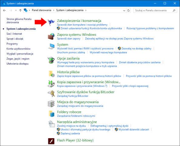 Widok zakładki Zabezpieczenia ikonserwacja wsystemie Windows 10.