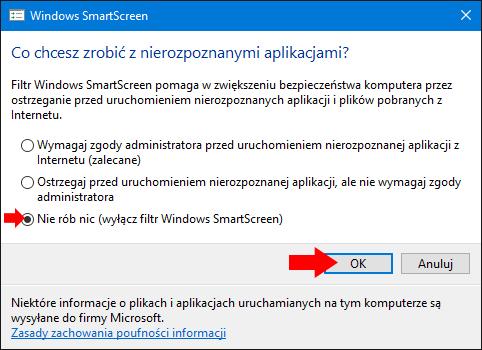 Wyłączony filtr Windows SmartScreen wsystemie Windows 10.