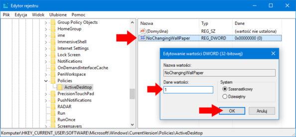 Tworzenie nowej wartości DWORD wedytorze rejestru onazwie NoChangingWallPaper.