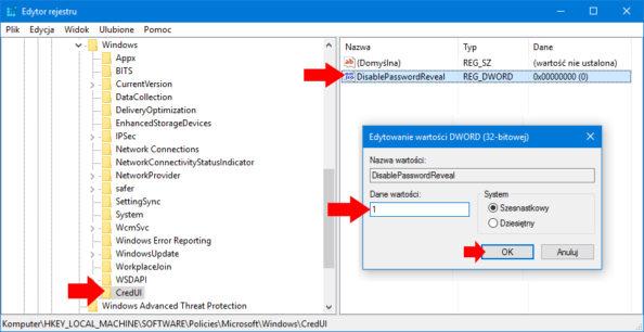 Tworzenie nowej wartości DWORD wedytorze rejestru onazwie DisablePasswordReveal.