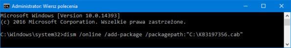 Instalacja aktualizacji wsystemie Windows 10 zpomocą polecenia DISM.