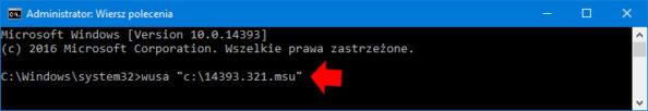 Instalacja aktualizacji wsystemie Windows 10 zpomocą polecenia WUSA.