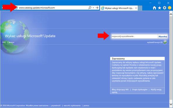 Pobieranie aktualizacji zwitryny Microsoft Update Catalog