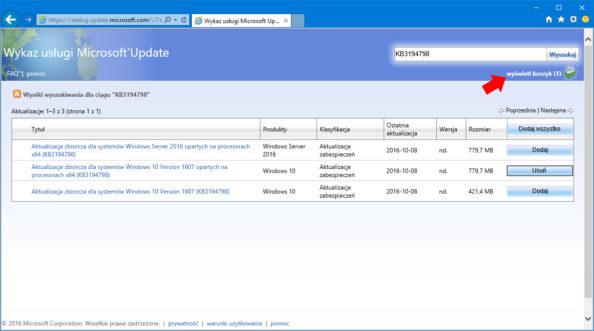 Pobieranie aktualizacji zwitryny Microsoft Update Catalog.