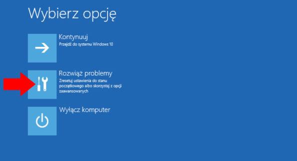 Okno rozwiązywania problemów zsystemem Windows 10.