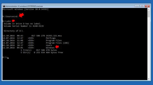 Potwierdzanie przypisanej litery dopartycji systemowej Windows 10.