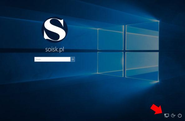 Ikona SIECI znajdująca się wprawym dolnym rogu ekranu logowania.