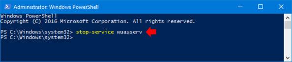 Wyłączenie usługi Windows Update zpomocą poleceń PowerShell.