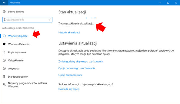 Włączona usługa Windows Update w systemie Windows 10.