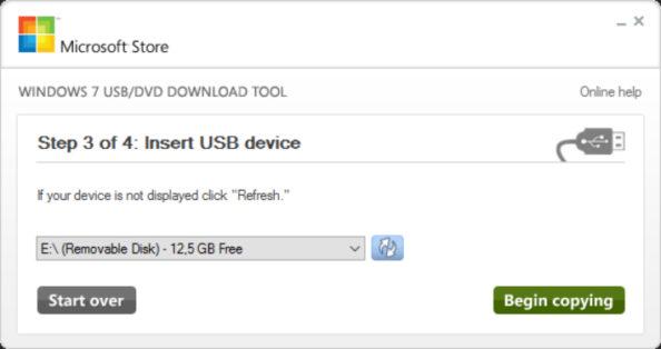 Tworzenie bootowalnej pamięci USB narzędziem Windows USB/DVD Download Tool.