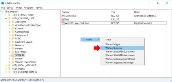 Tworzenie wrejestrze systemu Windows 10 przy użyciu polecenia PowerShell nowej wartości binarnej.