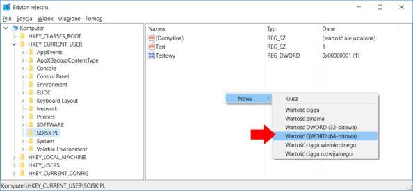 Tworzenie wrejestrze przy użyciu polecenia PowerShell nowej wartości QWORD.