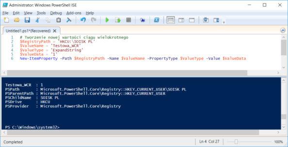 Tworzenie wrejestrze przy użyciu polecenia PowerShell nowej wartości ciągu rozwijalnego.