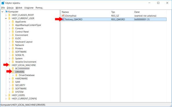 Kopiowanie wpisów doklucza HKEY_LOCAL_MACHINE\DRIVERS.
