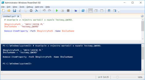 Usunięcie zrejestru wartości onazwie Testowy_QWORD.