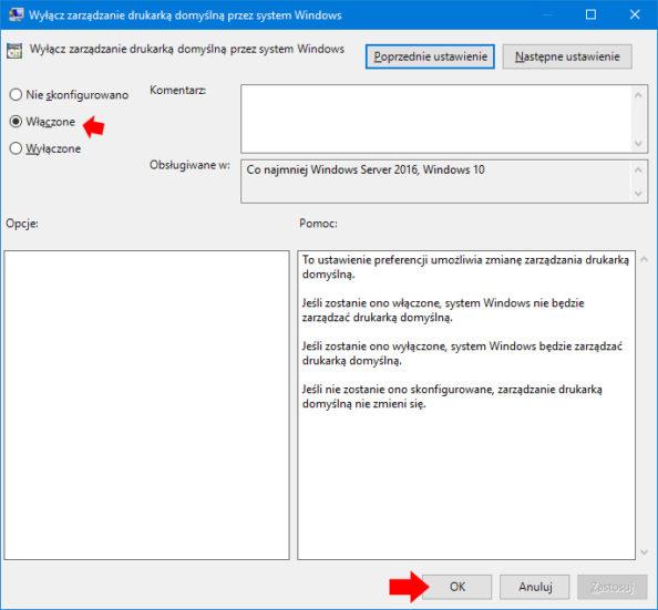 Wyłącz zarządzanie drukarką domyślną przez system Windows