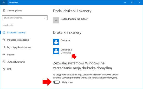 """Wyłączenie opcji """"Zezwalaj systemowi Windows nazarządzanie moją drukarką domyślną""""."""