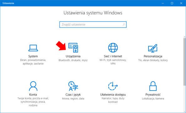 Widok zakładki Urządzenia woknie Ustawienia systemu Windows 10.