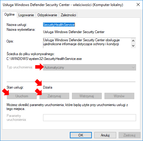 Widok działającej w systemie Windows 10 usługi Windows Defender Security Center