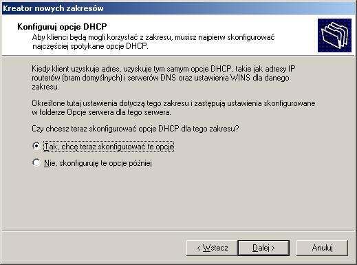 Rysunek 13. Konfigurowanie dodatkowych opcji DHCP.
