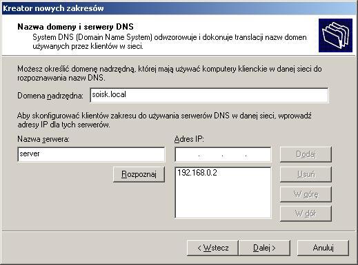 Rysunek 15. Wprowadzanie nazwy domeny oraz adresu serwera DNS.