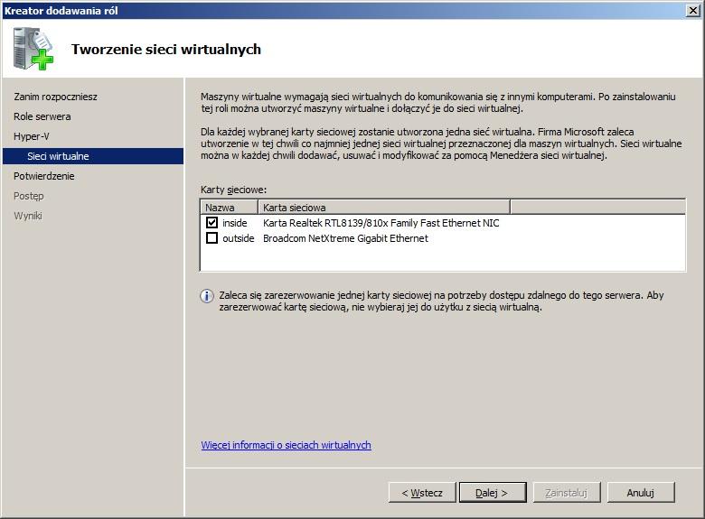 Rysunek 4. Wybór interfejsów sieciowych