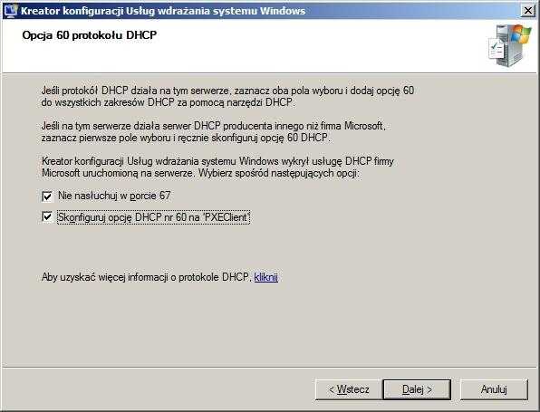 Rysunek 11. Konfiguracja protokołu DHCP