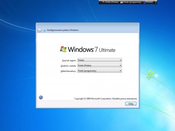 Rysunek 27. Konfigurowanie systemu Windows.