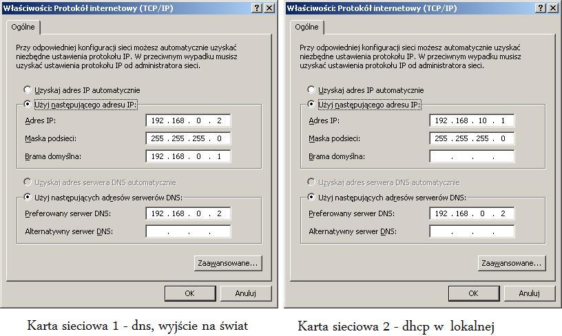 Rysunek 1. Ustawienia kart sieciowych.