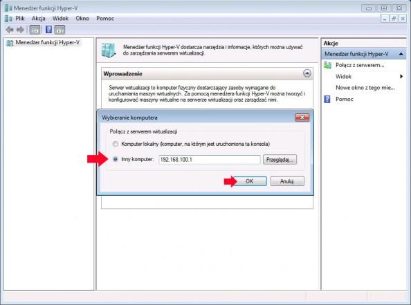Rysunek 45. Wskazanie adresu ip serwera.